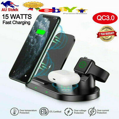 AU32.99 • Buy 15W 3 In 1 Qi Fast Wireless Charger Stand Dock For Apple Watch AirPod IPhone 13