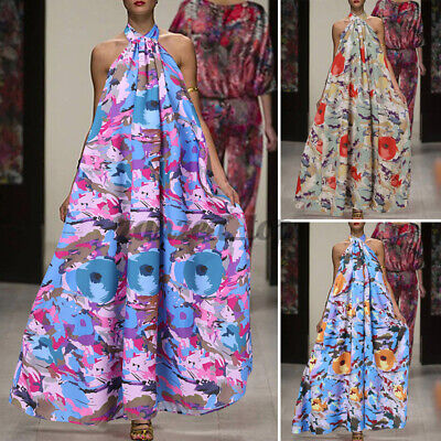 £13.49 • Buy SIZE Womens Evening Party Floral Print Maxi Dress Ladies Ball Gown Swing Dresses