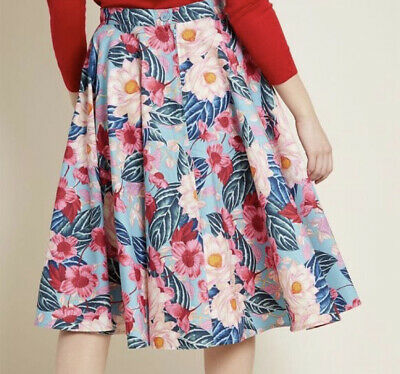 £15 • Buy Hell Bunny Tropical Skirt BNWT - Size Medium - Pink & Blue Floral