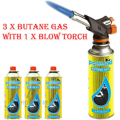 £14.90 • Buy 3 X Butane Gas Can With 1 Blow Torch Burner Welding Auto Ignition Soldering BBQ