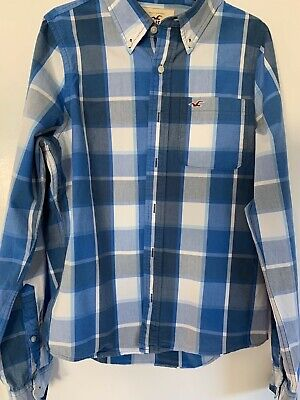 £3 • Buy Holister Blue & White Checked Cotton Shirt Size L
