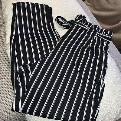 £2 • Buy Ladies Girls Black And White Striped Trousers. Size L. Shein