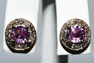£70.91 • Buy $2,500 1.80ct Natural Pink Sapphire & Diamond Halo Cluster Earrings 14k Gold