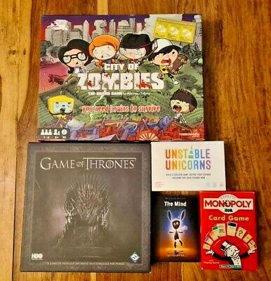 £19.50 • Buy 5 Board Game Bundle - City Of Zombies, Unstable Unicorns, Game Of Thrones...