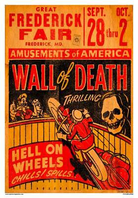 $20.80 • Buy Vintage Reproduction Racing Poster Motorcycle Wall Of Death County Fair