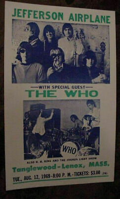 $58.99 • Buy VINTAGE JEFFERSON AIRPLANE THE WHO BB King Joshua Light Show60s  CONCERT POSTER