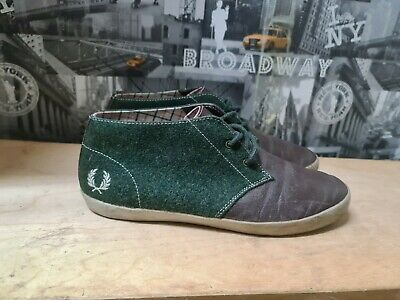 £17 • Buy Fred Perry Men's Brown/Green Trainers/Shoes Size UK 8 EU 42
