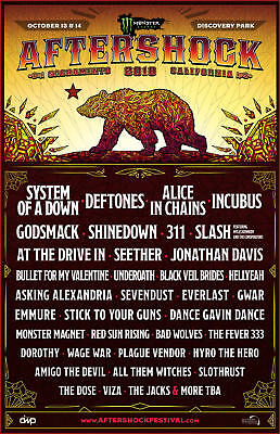 $16.16 • Buy AFTERSHOCK 2018 SACRAMENTO CONCERT TOUR POSTER-System Of A Down,Deftones,Incubus