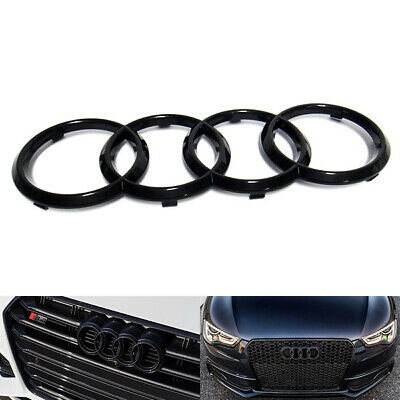 £11.99 • Buy Black Gloss Front Grille Ring Logo Badge Emblem For Audi A1 A3 A4 A5 A6 273x94mm