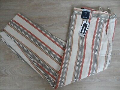 £7.99 • Buy Bnwt M&s Linen Rich Relaxed Straight Striped Trousers  Size 20 Reg Easy To Iron