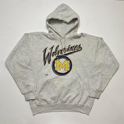 £14.49 • Buy Vintage Michigan Wolverines University Pullover Hoodie Mens Size L Made In USA