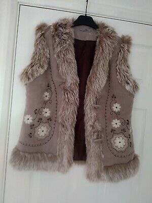 £7.49 • Buy Women's Brown Embroidered Suede Faux Fur Boho Gypsy Long Gilet Waistcoat Size 14