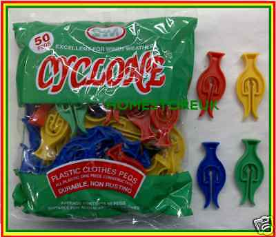 £4.49 • Buy 50 Pack Cyclone Plastic Clothes Pegs Push On Washing Line Durable Non Rusting