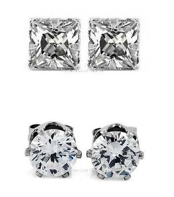 $4.99 • Buy 1 PAIR CZ CLEAR SQUARE/ROUND MAGNETIC Clip-On EARRINGS STUDS Men Women