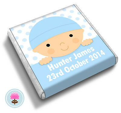 50 Personalised CUTE BABY Pink Blue Lilac Christening Shower FAVOUR CHOCOLATES • 13.75£