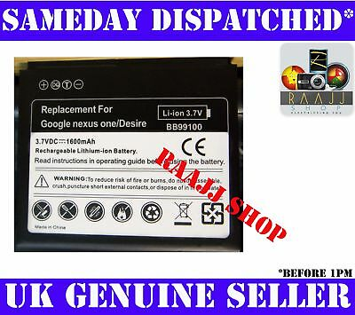 BRAND NEW HIGH CAPACITY BATTERY FOR HTC DESIRE A8181 1600maH UK SELLER • 4.99£