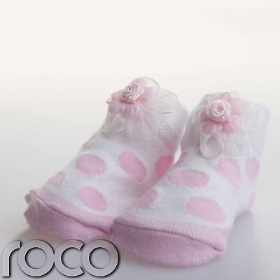 £2.99 • Buy Baby Girl White+pink Gift Flower Spotted Soft Cotton Design Socks  Shoes