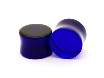 $6.99 • Buy Pair Of Blue Sapphire Glass Plugs Set Gauges PICK YOUR SIZE