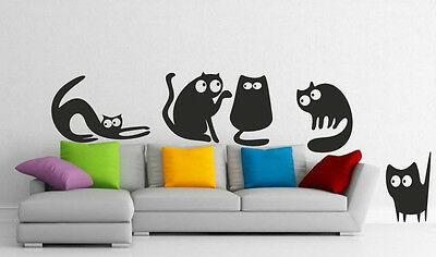 5 Funny Cats - Lovely Wall Stickers Decals Kids Room Nursery Bedroom FREE P&P • 8.56£
