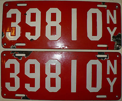 $ CDN1528.32 • Buy Antique Rare Matched Pair 1912 New York State Porcelain License Plates #39810