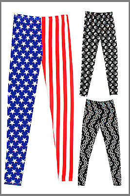 Womens Printed Leggings Full Length USA Peace YIng & Yang Ladies Brand New UK SM • 4.99£