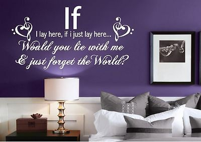 If I Lay Here Snow Patrol Quote Wall Art Sticker Decal Transfer Bedroom Wsd495 • 18.99£