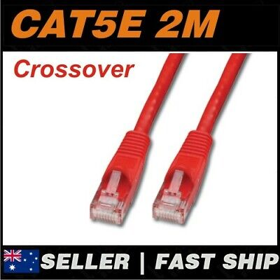 AU4.90 • Buy 1x 2m Cat5E Crossover Red  Ethernet Network LAN Patch Cable Lead