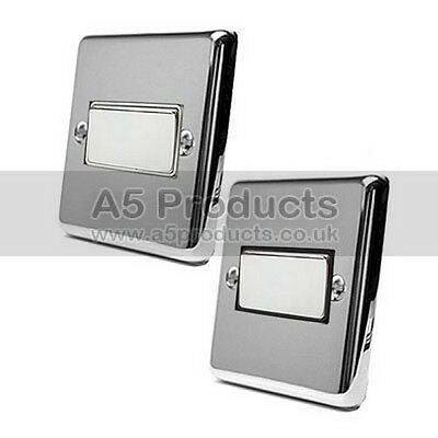 £8.85 • Buy Fan Isolator 3 Pole Switch In Polished Mirror Chrome CLASSIC Style Plate