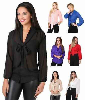 £12 • Buy Womens Ladies Chiffon Blouse Long Sleeve Pussy Bow Top Plain Shirt Office Party