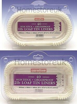 40 Pack Set 1lb/2lb Loaf Tin Liner Paper Cake Baking Case Non Stick Grease Proof • 7.95£
