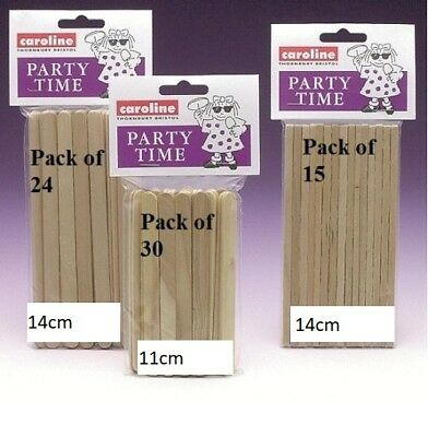 Party Time Ice Toffee Lolly Sticks Pop Candy T Apple Lollypop Wooden Wood Flat • 2.49£