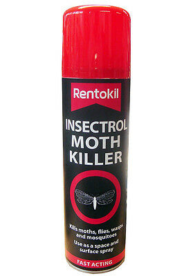 Rentokil Fast Acting Insectrol Moth Killer Spray 250ml Use On Moths Flies Wasps • 7.99£