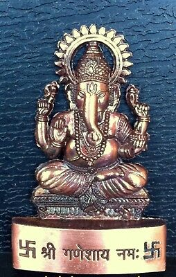 Lord Ganesha Ganesh Maharaaj Hindu God Antique Metal Mini Statue Car Dash Board  • 4.62£