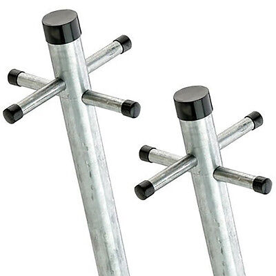 £58.59 • Buy Galvanised Washing Clothes Post Pole Line Dryer (2x) With Socket 2.4M TWIN PACK
