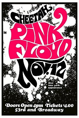 $12 • Buy Pink Floyd At The Cheetah Club In New York Concert Poster Circa 1967