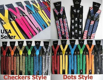 $5.25 • Buy (All Colors) Mens Womens Clip-on Suspenders Elastic Y-Shape Adjustable Braces