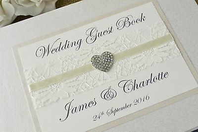 Ivory Personalised Wedding Guest Book - Vintage Lace & Jewel Wedding Guest Book. • 28.99£