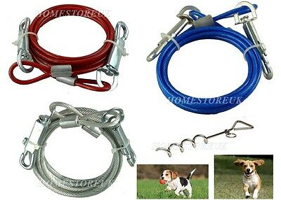 6ft Tie Out Down Cable Lead Leash Extension Dog Pet Puppy Chew Proof Wire Camp • 5.95£