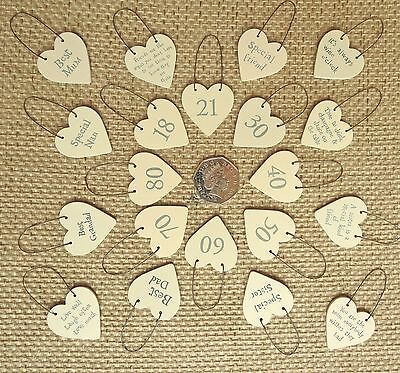 East Of India Little Wooden Heart Signs And Gift Tags With Message • 1.40£