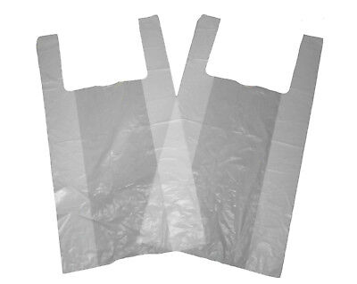 £4 • Buy 100 X STRONG WHITE VEST STYLE JUMBO CARRIER BAGS 12 X18 X24  FREE DELIVERY