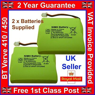 £4.85 • Buy 2 X New BT Verve 410 450 Twin Rechargeable Phone Batteries NiMH 2.4v 600mah UK