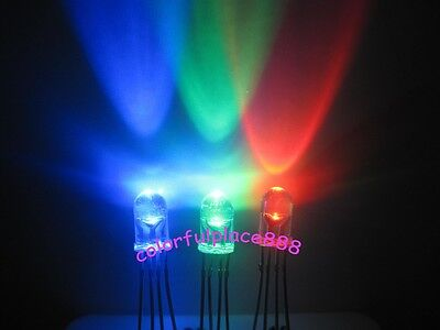 £5.08 • Buy 50 X 5mm 4-Pin Tri-Color RGB Common Cathode Water Clear Red Green Blue LED Leds