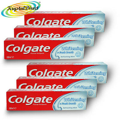 6x Colgate Whitening & Fresh Breath Mint Toothpaste 100ml Remove Stains Plaque  • 13.05£