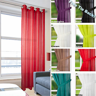 £9.25 • Buy Leona Voile Curtain Panel - Linen Effect Eyelet Ring Top - Net & Voile Curtains