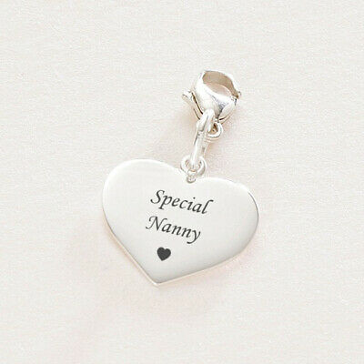 Special Nanny Silver Engraved Heart Charm Gift Lobster Clasp • 15.99£