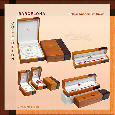 $45 • Buy Barcelona Deluxe Wooden Jewelry Gift Box For Bracelet Necklace Set Watch Pen