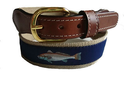$22.99 • Buy Mens Embroidered Leather Canvas Ribbon Fishing Belt Redfish Red Fish Select Sz