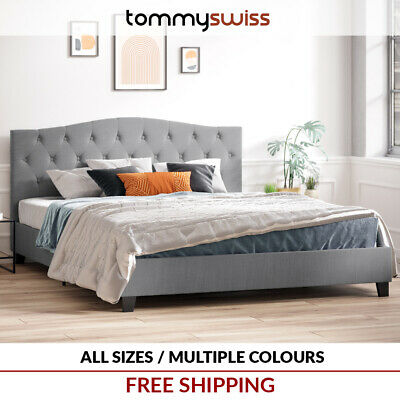 AU179 • Buy Curved Fabric Button Bed Frame In King Queen & Double Size - Charcoal Grey Beige