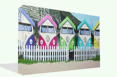 £22.99 • Buy Canvas Wall Art Print Of  VW Campervan Beach Huts Retro Picture Framed