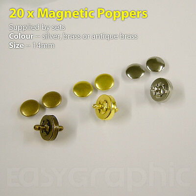 20 Magnetic 14mm Poppers, Setting Tools, Snap Fastener Stud Sewing Leather Craft • 7.80£
